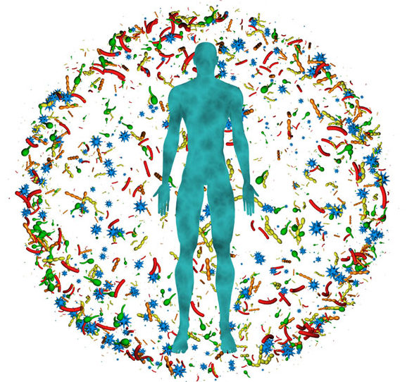 Illustration showing a human body at the center of a sphere of colorful microorganisms, as a symbol for the osmosis between humans and microbiota.